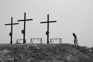 25 Mar 2016, Philippines --- March 25, 2016 - Philippines - A devotee walks up Calvary Hill in Cutud, Pampanga before the crucifixion rights. Flagellants are nailed to the cross in observance of Good Friday. Although the Catholic Church has been vocal against any form of flagellation and crucifixion, several penitents still chose to be nailed to the cross because of their life long vows. (Credit Image: © J Gerard Seguia via ZUMA Wire) --- Image by © J Gerard Seguia/ZUMA Press/Corbis