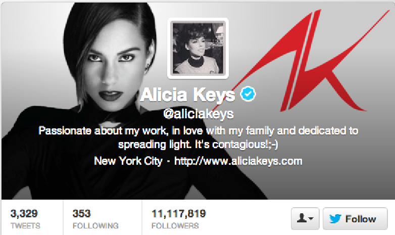 Blackberry ambassador, Alicia Keys, tweets from an iPhone
